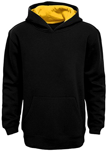 Boy's Pullover Hoodie (Medium, Black-Yellow)