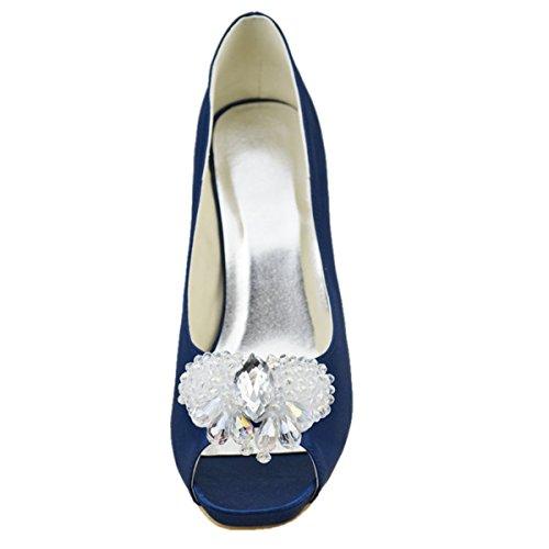 Minitoo GYAYL231 Womens Stiletto Heel Open Toe Satin Evening Party Bridal Wedding Sparkle Shoes Blue 94zq5ki1