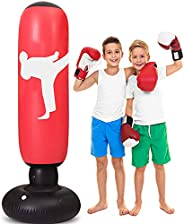 LEAZEAL Punching Bag for Adults Kids, 63 Inch Inflatable Kids Punching Bag with Stand, Free Standing Boxing To