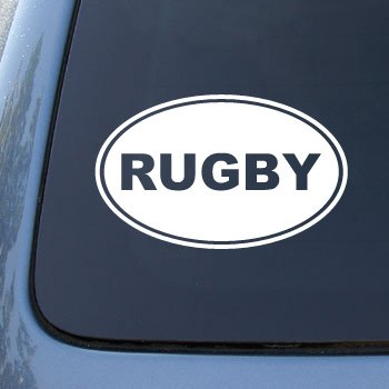 Rugby euro oval vinyl car decal sticker 1738 vinyl color white