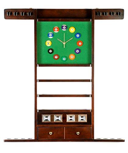 Cue-Rack-Only-8-Pool-Billiard-Stick-Ball-Wall-Rack-W-Clock-Choose-Oak-or-Mahogany-Finish