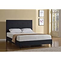 Home Life Cloth Black Linen 47 Tall Headboard Platform Bed with Slats Queen - Complete Bed 5 Year Warranty Included
