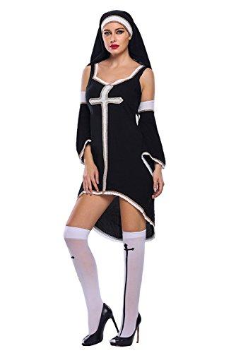 [FiveFour Women's Halloween Costume Black Sinful Nun Dress Cosplay Costume] (Borderlands 2 Costumes For Sale)