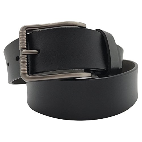 Men's Casual Jean Belt Soft Top Grain Leather Roller Buckle,by Ezi,Black