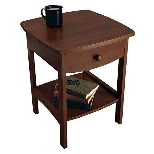 Winsome-wood Small Accent Table For Small Places/Square Walnut Premium Wood Night Stand With A Drawer
