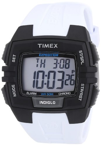 Timex Men's Expedition | White Strap Black Case Indiglo | Digital Watch T49901 (Timex Watches Atomic)
