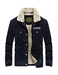 Mordenmiss Men's Corduroy Trucker Jacket Casual Stand Collar Button Down Fleece Denim Jacket
