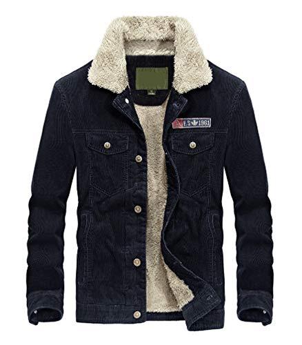 (Lavnis Men's Corduroy Trucker Jacket Casual Stand Collar Button Down Fleece Denim Jacket Blue)