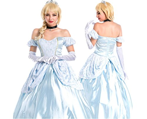 Court Sissi Snow White Halloween Party Cinderella Costume 5Pcs Set (Adult Cinderella Dress)