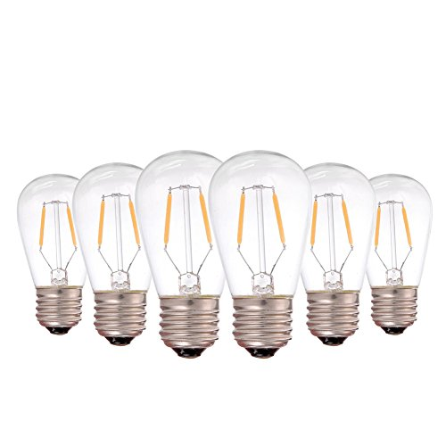 Genixgreen Edison Style Vintage LED Filament Light Bulb, ST45 1W E26 Medium Base Warm White 2700K Waterproof Outdoor LED String Lights 10W Incandescent Replacement Bulb Non-Dimmable - 6 Pack