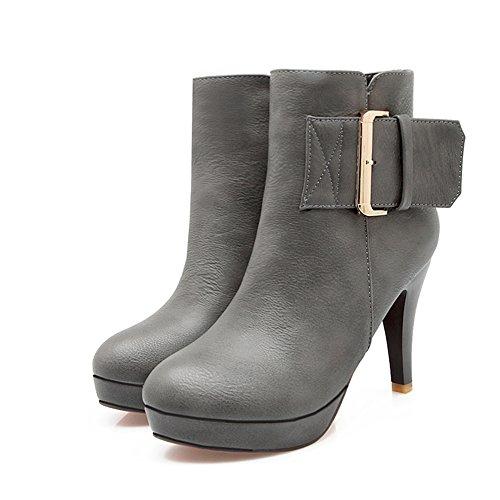 Lucksender Boots Ankle Platform High Grey Womens Heel Dress 41Oqz7