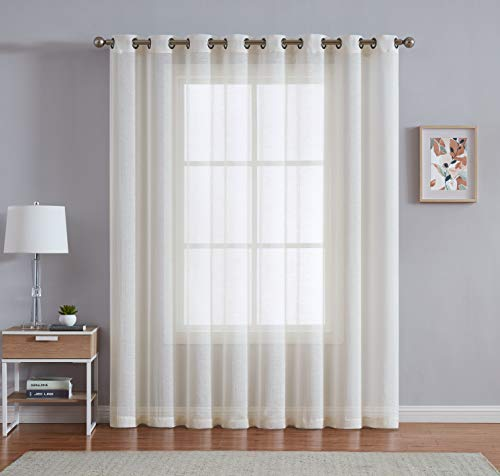 LinenZone - Semi Sheer Grommet - 1 Extra Wide Patio Curtain Panel - 102 Inch Wide - 96 Inch Long - Ideal for Sliding and Patio Doors - Natural Light Flow Material (Patio 102 W x 96 L, Beige)