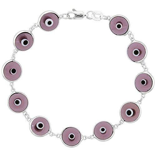 - Sterling Silver Evil Eye Bracelet Clear Amethyst Purple Color, 7 inch