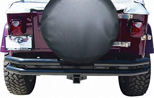 - RAMPAGE PRODUCTS 7648 Black Double Tube Rear Bumper with Hitch Receiver for 1976-2006 Jeep CJ, Wrangler YJ & TJ