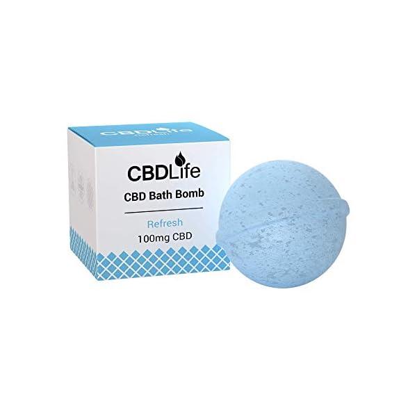CBDLife CBD Bath Bomb with Peppermint and Eucalyptus Essential Oils 100mg CBD