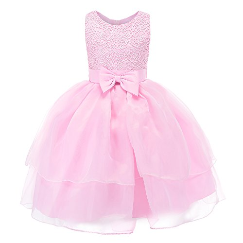 Fiream Flower Girls Dresses Tulle Sleeveless Princess Pageant Wedding Party Dresses(pink,3T/3-4YRS) by Fiream