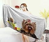 Anniutwo Yorkie,Bath Towel,Yorkshire Terrier with Stylish Hairdressing Equipment Mirror Scissors,Customized Bath Towels,Dark Brown Multicolor Size: W 19.5'' x L 39.5''