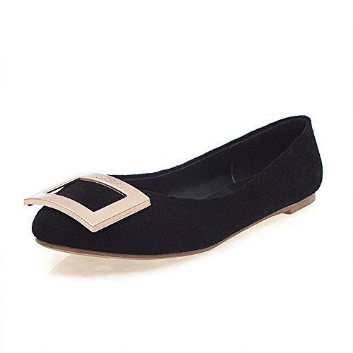 AmoonyFashion Womens Round-Toe Closed-Toe No-Heel Pumps-Shoes With Non-Slipping Sole and Metal Ornament Black mBKffol