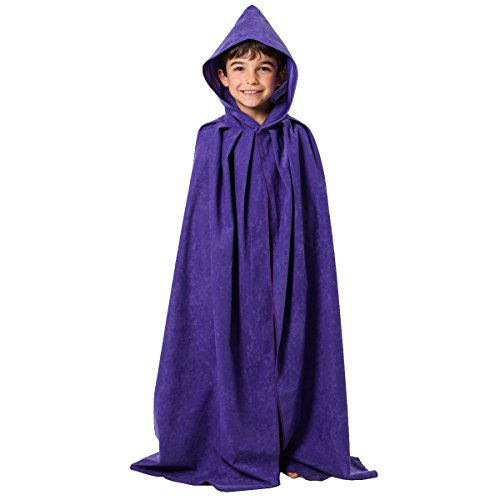 Purple Cloak or Cape with Hood for Kids 7-9 Years -