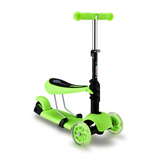 FunnyPro 3in1 Ride on Kick Scooter Balance Bike with T Bar for Kids(Green)