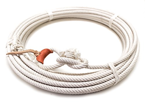 mroyalsaddles.com 64 Ft White Rodeo Lasso Rope Leather Burner Rodeo Lariat Roping Gear (Y&BL)