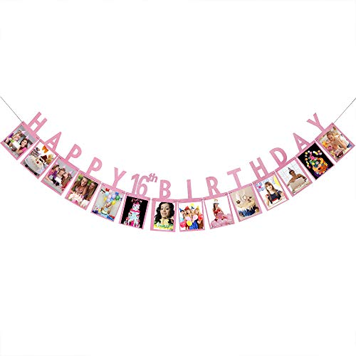 Happy 16th Birthday Photo Banner - Pink Glitter Happy Sweet 16 Birthday Anniversary Party Decoration, Sixteen Photo Booth Props Bunting