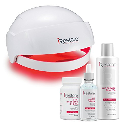 iRestore MAX Hair Growth Kit– FDA-Cleared Laser Hair Loss Treatment for Men and Women with Thinning Hair – Laser Cap Uses Regrowth Light Therapy Similar to Combs, Brushes to Grow Thicker, Fuller Hair