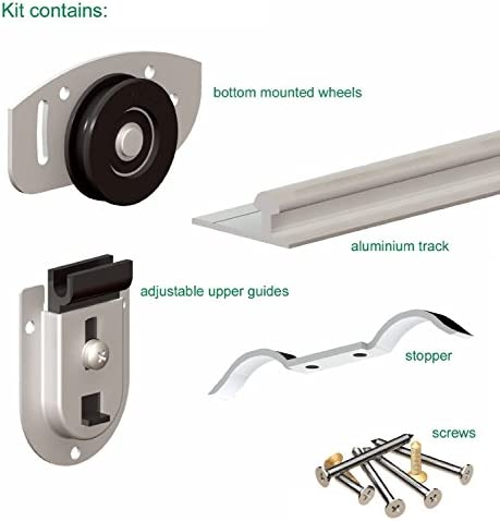 Puerta corredera para armario 2 1500 mm doble pista Gear sistema Ares 2 Roller Interior armario 70 kg: Amazon.es: Bricolaje y herramientas
