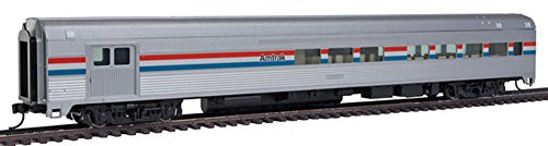 85' Budd Baggage-Lounge - Ready to Run -- Amtrak (Phase III; silver, Equal red, white, blue Stripes) ()