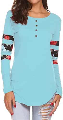 260bcf74e5c Halife Women s Casual Front Buttons Tops Floral Print Patchwork Long Sleeve  Henley Tunic Shirts