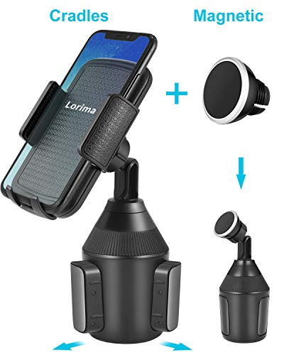 (Lorima Cup Holder Phone Mount - Universal Adjustable Portable Magnetic Car Cup Holder for Cell Phones)