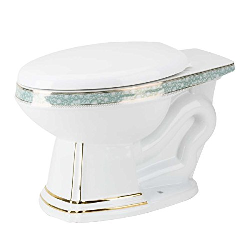 Elongated Toilet Rear Entry Bowl White/Gold/Blue Sheffield Toilet Part by Renovator's Supply