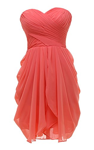 Kiss Dress Short Strapless Prom Dress Soft Chiffon Evening Dress XL Coral