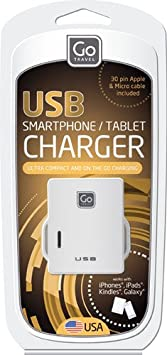 Go Travel Twin USB Charger, White, One Size 053