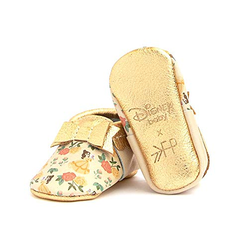 Freshly Picked - Soft Sole Leather Bow Moccasins - Disney Princess Baby Girl Shoes - Size 3 Belle