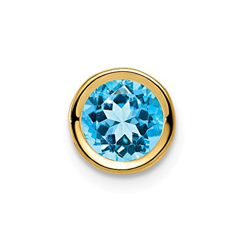 14k Yellow Gold 6mm Blue Topaz Bezel Pendant Charm Necklace Slide Chain Gemstone Fine Jewelry Gifts For Women For Her