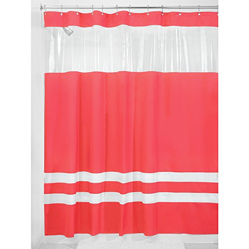 InterDesign Hitchcock Rugby Stripe Reversible Fabric Shower Curtain, 72-Inch by 72-Inch, Azalea