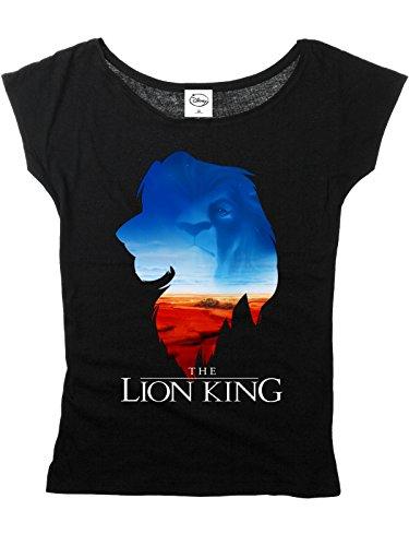 Unbekannt König der Löwen Damen T-Shirt Simba Mufasa Kings World Loose Fit Disney Baumwolle Schwarz - S