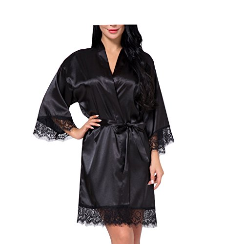 (SexyTown Women's Short Satin Lounge Robes Bridesmaids Charmeuse Lingerie Sleepwear (Small, Black Lace))