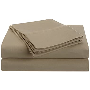 1500 Series 100% Brushed Microfiber 4-piece Queen Bed Sheet Set Solid, Tan - Deep Pocket, Super Soft and Wrinkle Resistant
