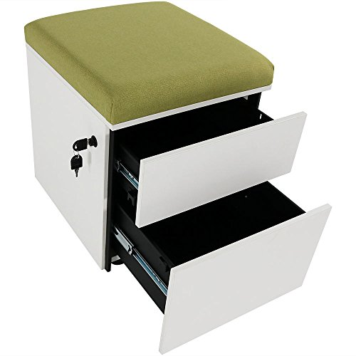 Rolling Mobile Pedestal Storage Cabinet with Lock and Cushion, Steel 2-Drawer for Home or Office by CASL Brands, Green Drawers Storage Cabinet Locks
