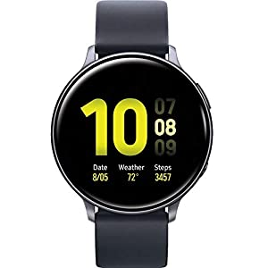 Samsung Galaxy Watch Active2 (Silicon Strap + Aluminum Bezel) Bluetooth – International (Aqua Black, R820-44mm)