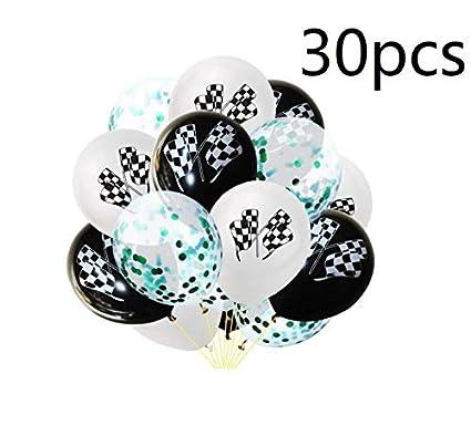 Amazon.com: 30 globos de látex con bandera de carreras de ...