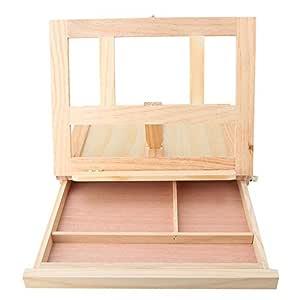 Caballete de mesa de escritorio de madera ajustable con cajón de ...