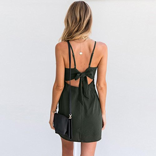 UFACE Promotionen UnregelmäßIges äRmelloses Kleid FüR Damen Frauen Strappy Bogen Backless Bandage Abendkleid Armeegrün