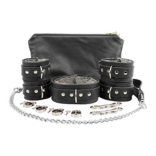 Harness Cuff (Atlas Set Ankle Wrist Cuffs Collar Chain Leash Fur Lockable Lambskin Leather (Black, Small))