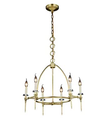 Pendants 6 Light With Burnished Brass Finish E12 Bulb 24 inch 240 Watts - World of Classic