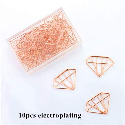 Susins Rose Gold Color Plastic Coated Electroplating Pineapple Goblet Heart Shape Paper Clips Funny Bookmark Marking Clips H0029 - (Color: 10pcs E Diamond)