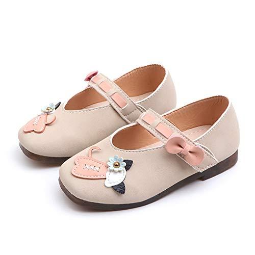 Tronet Infant Toddler Kids Baby Girls Flower Cat Single Princess Shoes Casual Sandals Princess Dress Shoes Beige ()