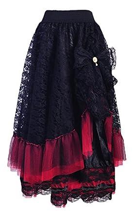 Falda larga roja y negra con encaje y joya, diseño elegante y ...